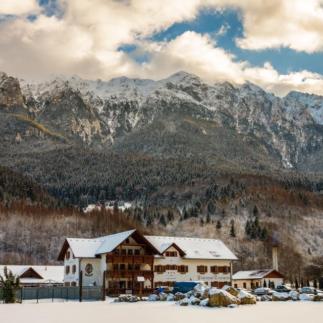 """Hotel Popasul Craiului in the mountains"" stock image"
