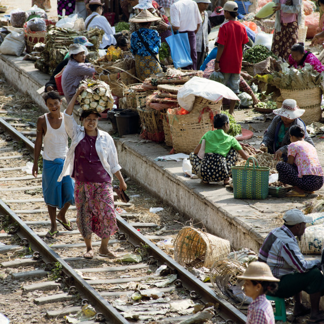 """""""Large market on the station platform and along the rail track"""" stock image"""