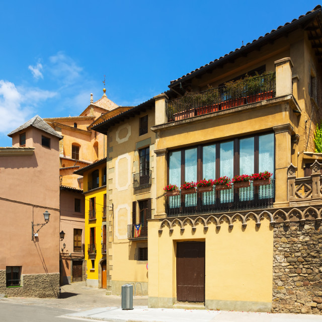 """""""picturesque street of old Catalan town. Vic"""" stock image"""