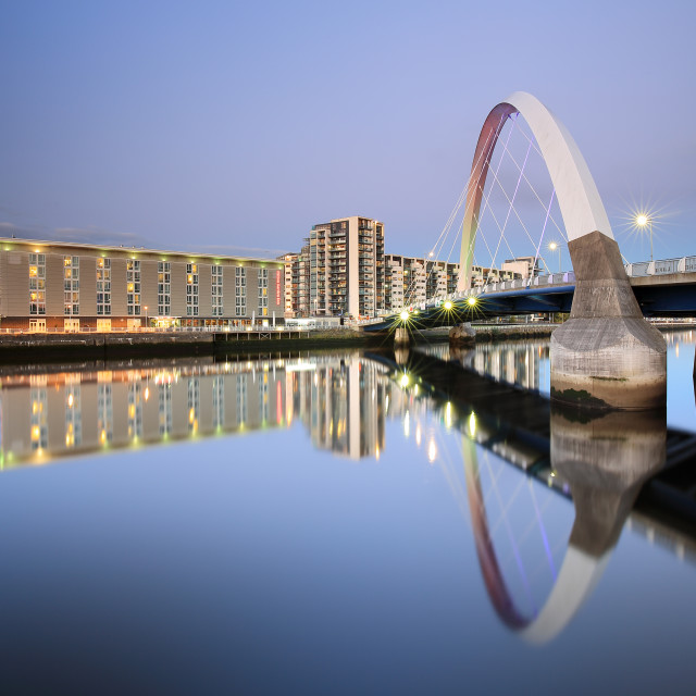 """Glasgow Clyde Arc Twilight Reflection"" stock image"