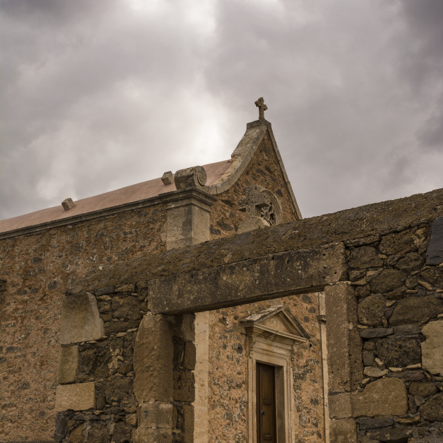 """Old Orthodox chapel near Toplou monastery in Crete, Greece."" stock image"