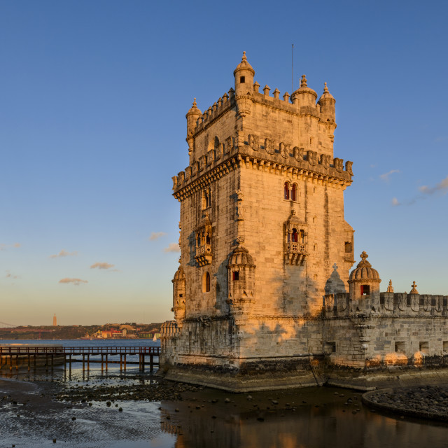 """View of the Belem Tower in Lisbon, Portugal; Concept for visit Lisbon and travel in Portugal"" stock image"