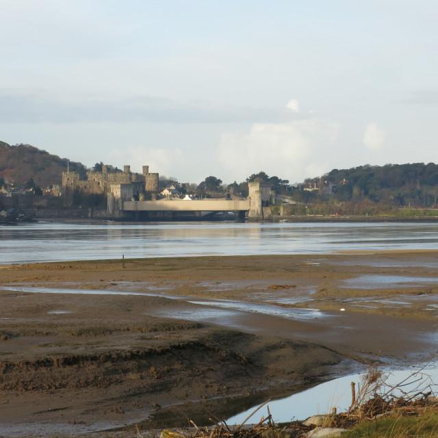 """River Conwy towards Conwy Castle"" stock image"