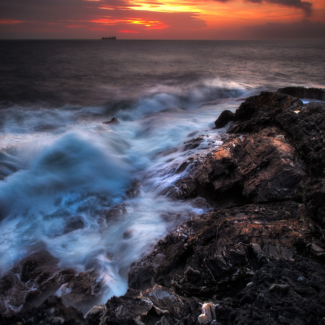 """Sunset on the ligurian coast"" stock image"