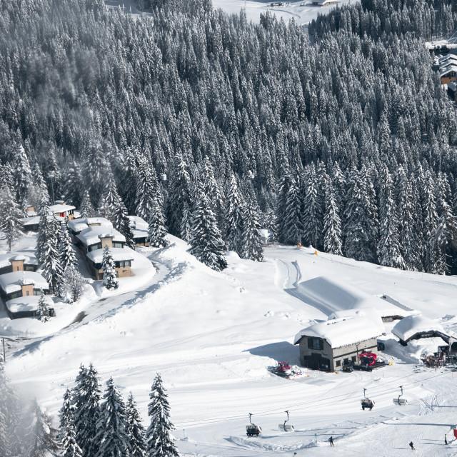 """""""Snowy village - Madonna di campiglio"""" stock image"""