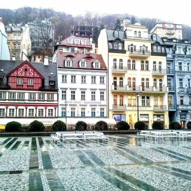 """Colorful houses in Karlovy Vary"" stock image"