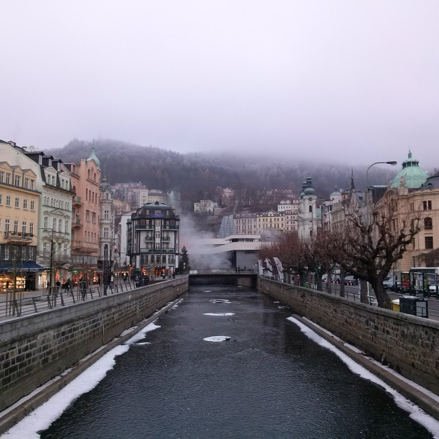 """Karlovy Vary winter with the Tepla river"" stock image"