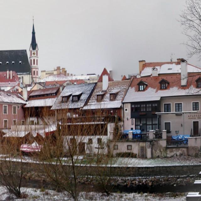 """""""Český Krumlov winter panorama"""" stock image"""