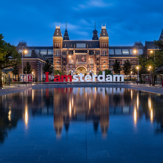 """I Amsterdam sign and the Rijksmuseum during twilight"" stock image"