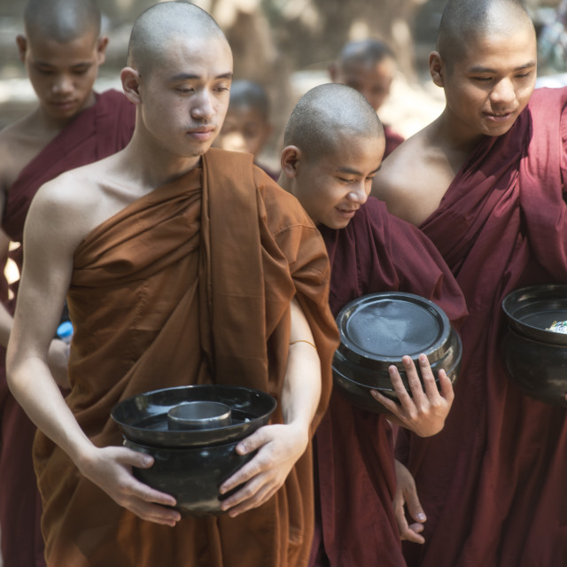 """""""Monks Going for Lunch at Kalaywa Tawya Monastery in Yangon"""" stock image"""