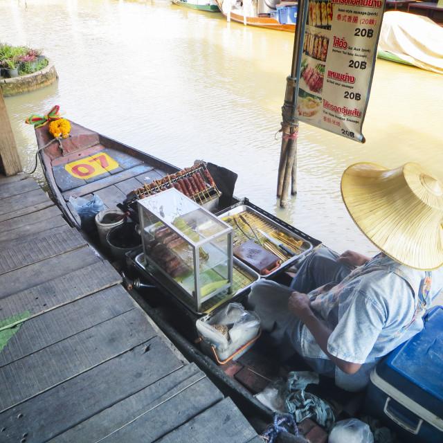 """Woman selling food at Pattaya Floating Market"" stock image"
