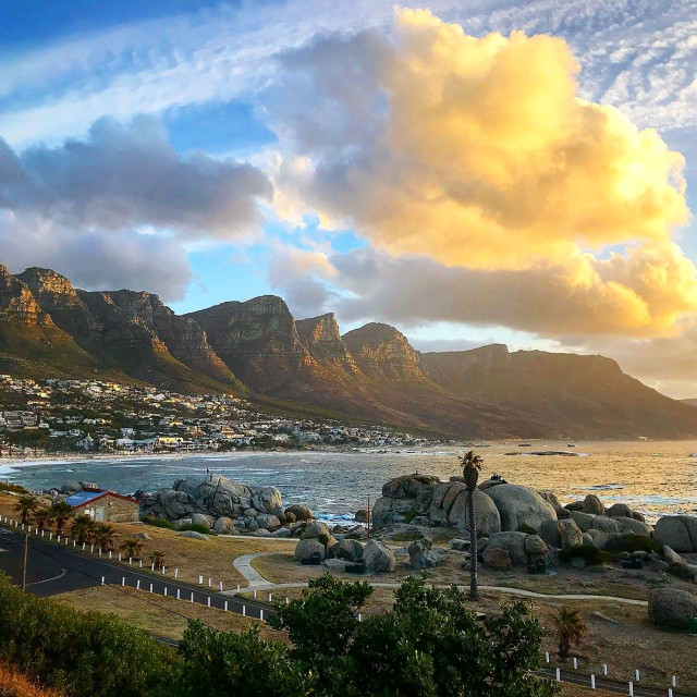 """Camps Bay and 12 Apostles at Sunset"" stock image"