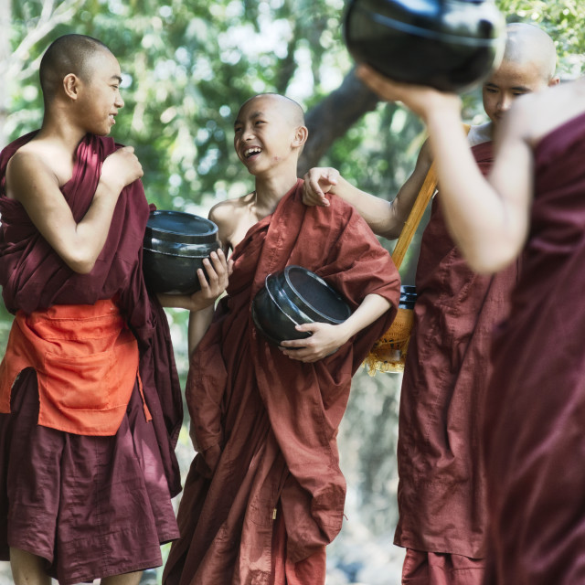 """Monks Going for Lunch at Kalaywa Tawya Monastery in Yangon"" stock image"
