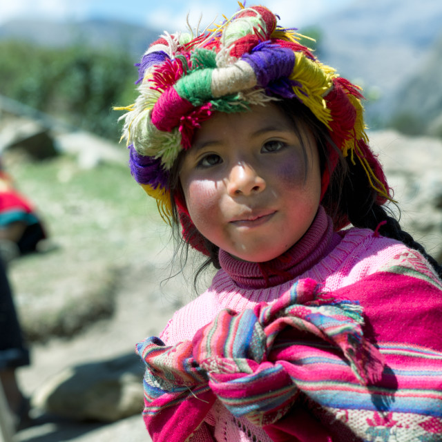 """""""Portrait of a Peruvian girl dressed in colourful traditional handmade outfit"""" stock image"""