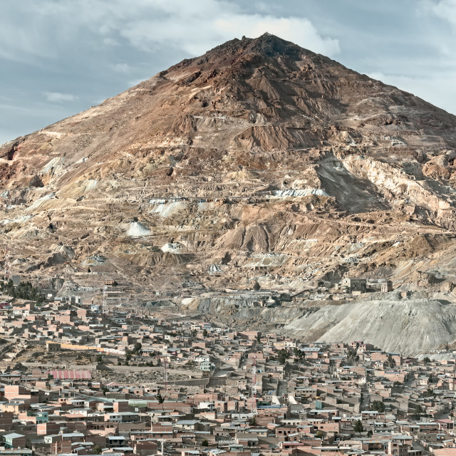 """El Cerro Rico which translates "" the rich hill"" stands above what was once the largest silver deposit in the world"" stock image"