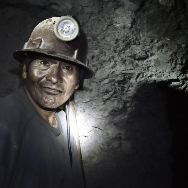 """""""Portrait of a miner inside Cerro Rico silver mine, Potosi, Bolivia"""" stock image"""