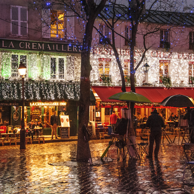 """""""Montmartre early on a winter's evening"""" stock image"""