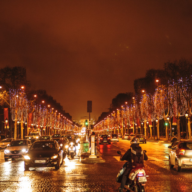"""""""The Champs Elysees, Paris, at night"""" stock image"""
