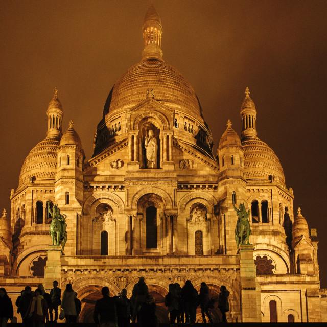 """Sacre Couer, Montmartre, Paris, at night"" stock image"