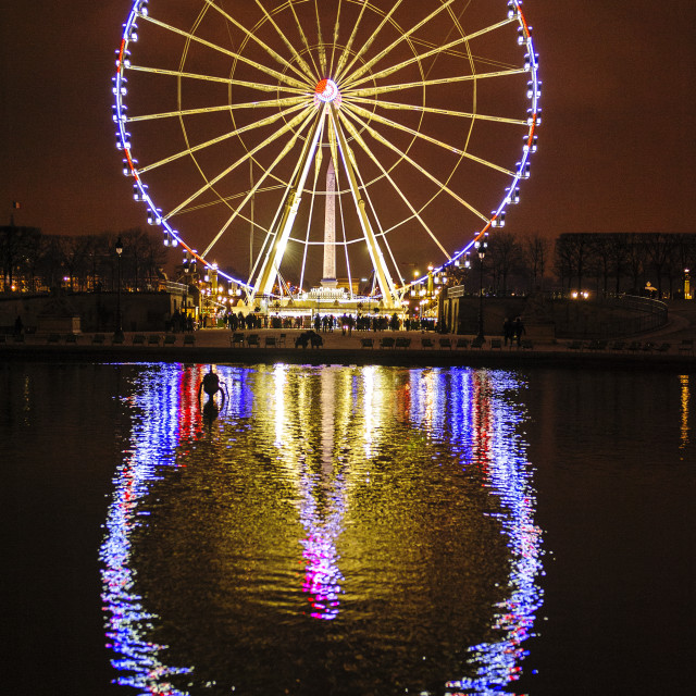 """La Grande Roue, Paris, at night"" stock image"