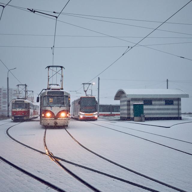 """Trams in heavy snowfall"" stock image"