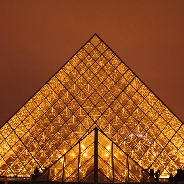 """La Pyramide, Paris, at night"" stock image"