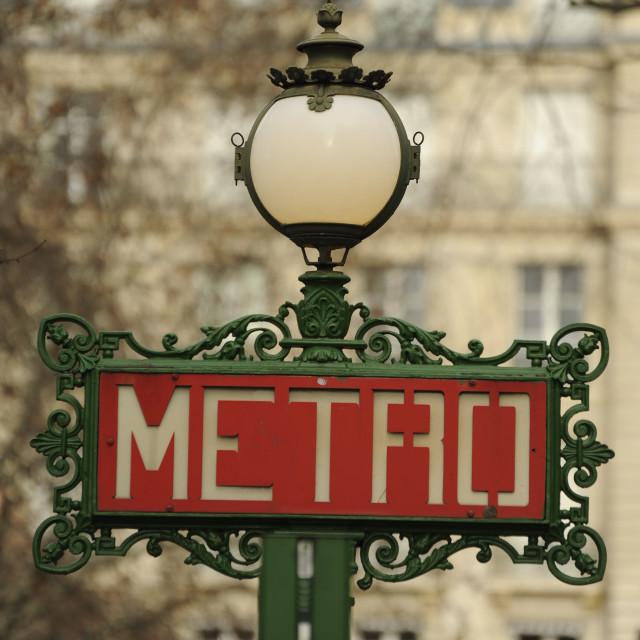 """Old style Art Nouveau Metro sign in Paris"" stock image"