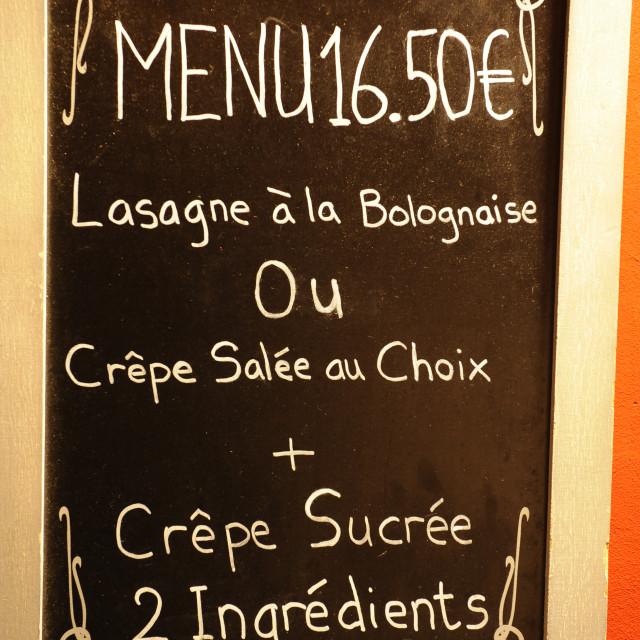 """Paris menu"" stock image"