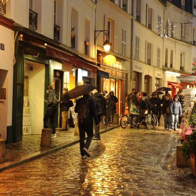 """""""Street scene in Montmartre, Paris"""" stock image"""