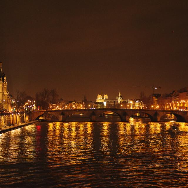 """River Seine, Paris, at night"" stock image"