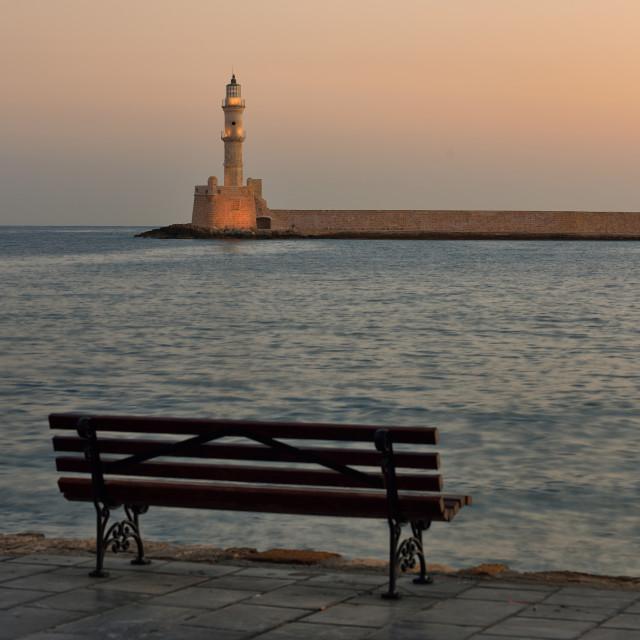 """First morning light at venetian harbor Chania"" stock image"