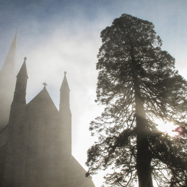 """""""Cathedral In the Mist Killarney Ireland"""" stock image"""