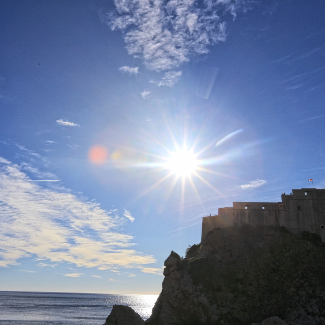 """castle silhouette against blue sky at Dubrovnik Croatia"" stock image"