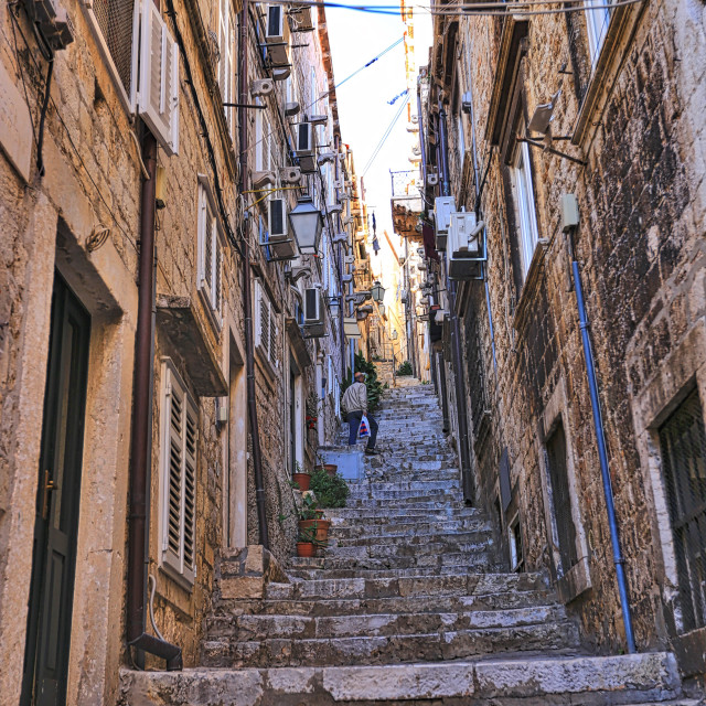 """Alleys that leads to restaurants and shops at old town Dubrovnik Croatia"" stock image"