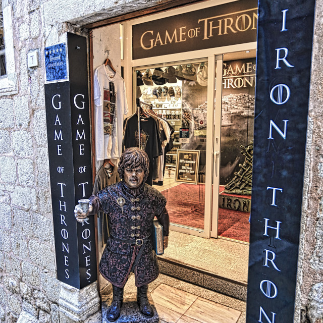"""Games of Thrones souvenir shop at old town Dubrovnik"" stock image"