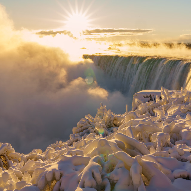 """Niagara Falls Winter Sunrise"" stock image"