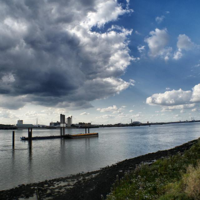 """Erith Reach, The Thames, Rainham"" stock image"