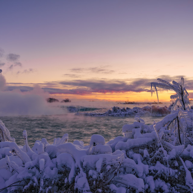 """Pre-dawn Frozen River Landscape"" stock image"