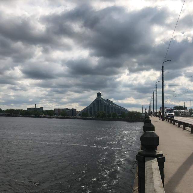 """""""Akmens River Bridge View"""" stock image"""