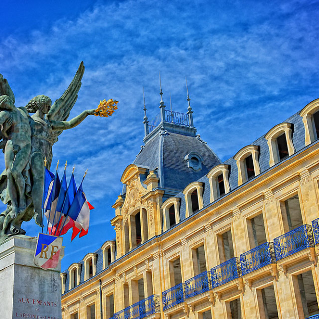 """""""Statue in Bergerac, France"""" stock image"""