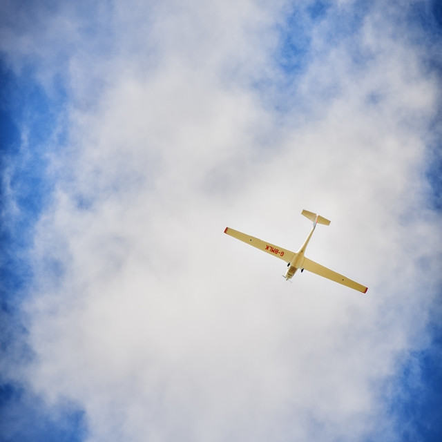 """""""Powered Glider flying in Yorkshire"""" stock image"""