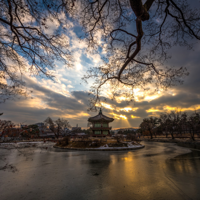"""Sunset in Kyoungbok Palace - Seoul, Korea"" stock image"