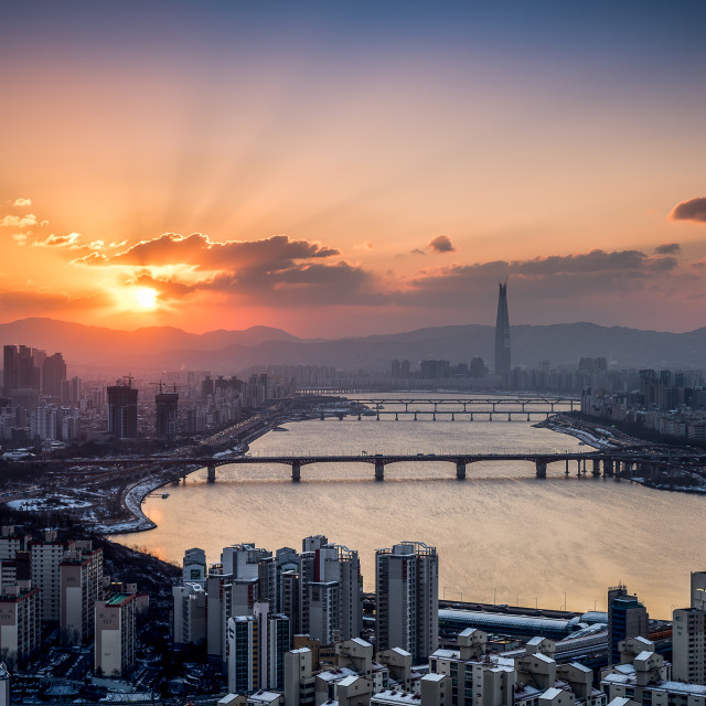 """Sunrise in Seoul"" stock image"