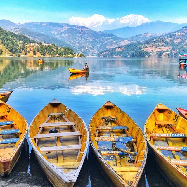 """Boating at Lekhnath, Begnas Nepal"" stock image"
