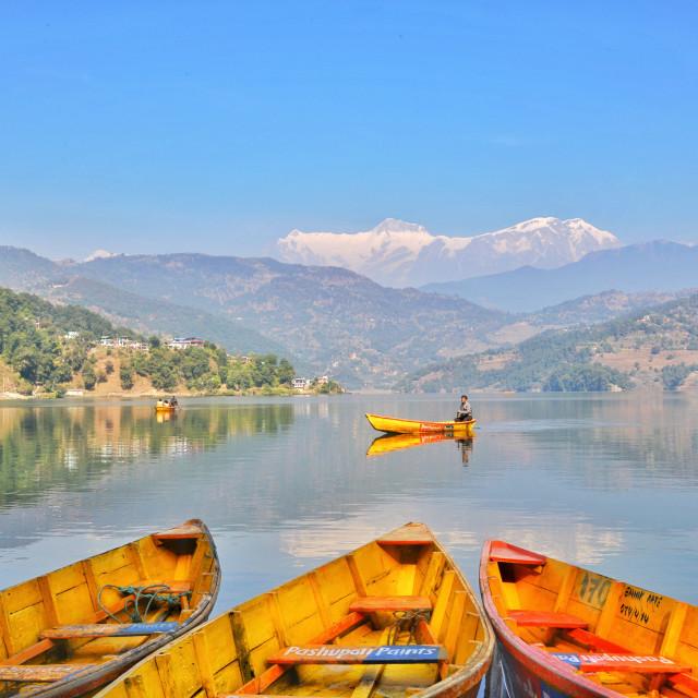"""""""Boating at Lekhnath Begnas, Pokhara, Nepal"""" stock image"""