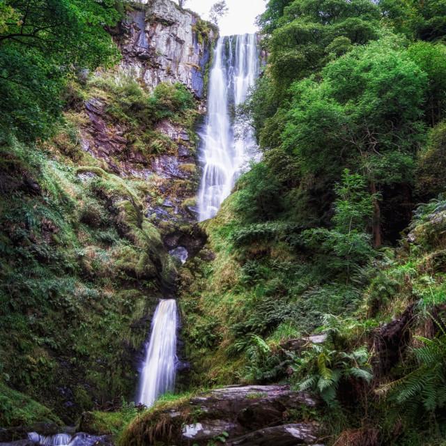 """""""Pistyll Rhaeadr waterfall in Wales."""" stock image"""