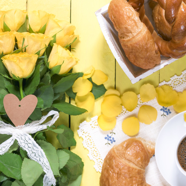 """""""Breakfast table and yellow roses"""" stock image"""