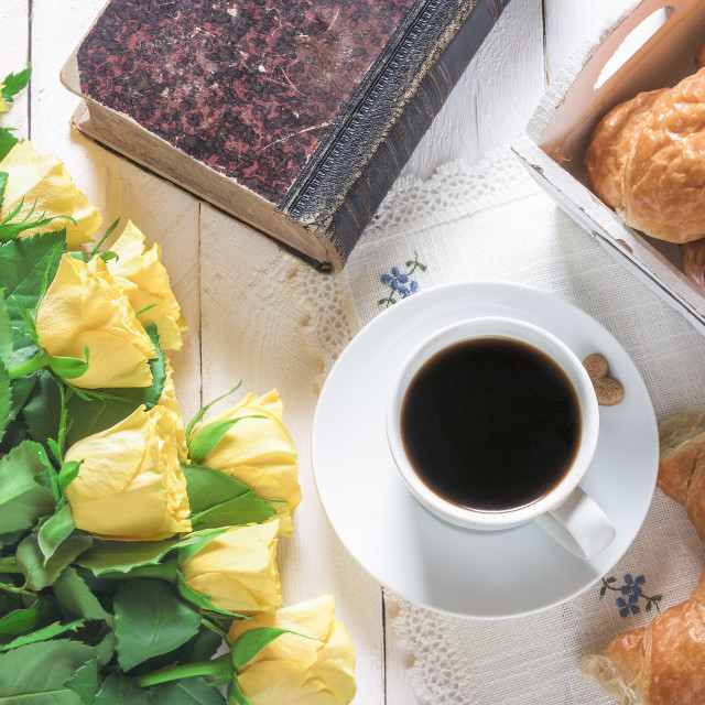 """""""Breakfast with coffee and croissants"""" stock image"""