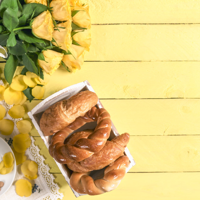 """""""Coffee with pastry products and roses"""" stock image"""