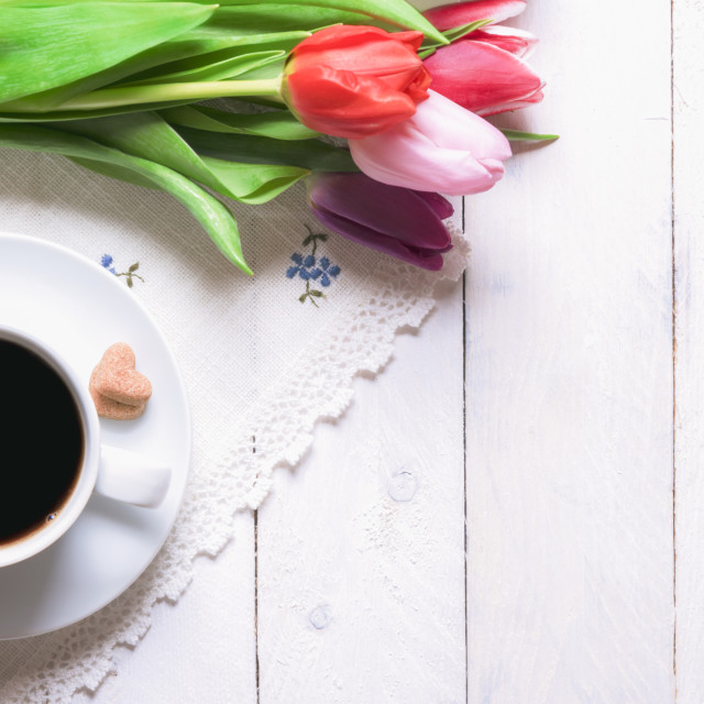 """""""Coffee and bouquet of tulips"""" stock image"""